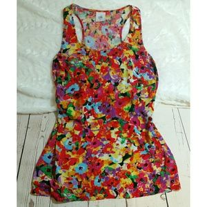 CABI bright floral tank top XS